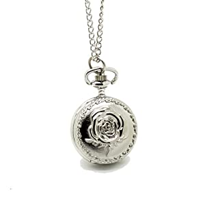 RSSP NEW Small Retro Carving Rugosa Rose Quartz Pocket Watch With White Steel Color