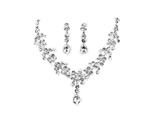 "Ocaler®18.89"" Charm Wedding Bridal Rhinestone Crystal Necklace + 1.57"" Earring Plated Jewelry Set"