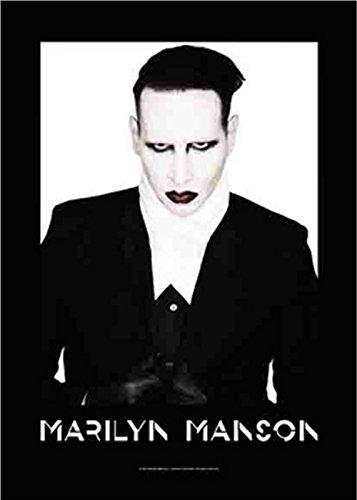 Marilyn Manson Head Shot Official Tessile Nero Bandiera poster 110x 75cm, taglia unica