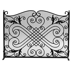 New Diamond and Scroll Black Wrought Iron Single Panel Screen