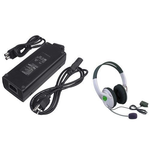 Eforcity® Ac Power Adapter + Headset W/ Mic Compatible With Microsoft Xbox 360 Slim