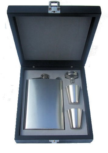 Personalised 8oz Stainless Steel Hip Flask Set in Brown Wooden Box Engraved