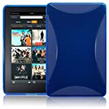 AMAZON KINDLE FIRE TPU GEL SKIN CASE - BLUE, WITH MICROFIBRE CLEANING CLOTH ~ Generic