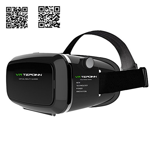 Tepoinn 3D VR Glasses Virtual Reality Headset For 3D Movies and Games Compatible with Android & Apple Up to 6 Inch Easy Setup Machine(Upgraded Version)