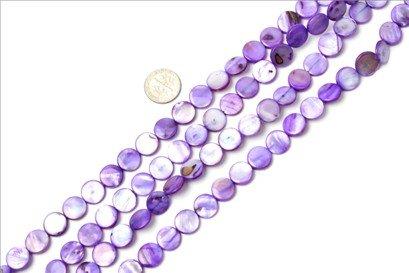 11mm coin gemstone purple Sea shell beads strand 15
