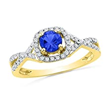 buy Roy Rose Jewelry 1/5-Carat Tw Diamond 1/2-Carat Lab Created Round Sapphire Ring 10K Yellow Gold