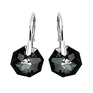 Black and Grey Sterling Silver Made with Swarovski Crystals Drop Lever-back Earrings for Women