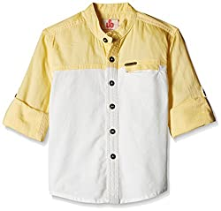 UFO Boys' Shirt (AW16-WB-BKT-227_Yellow and White_8 - 9 years)