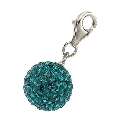 Zeeme Damen-Anhänger 925/- Sterling Silber Mit 115 Blauen Kristallen Kugel 358240419