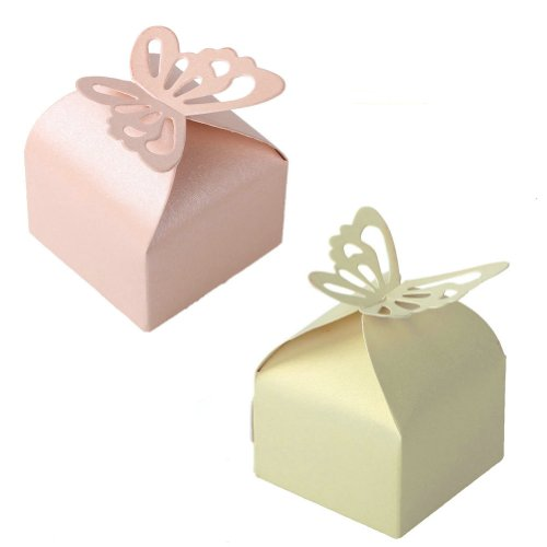 2013newestseller 20pcs Super Lovely Yellow Pink Sweet Butterfly Design Pearl Paper Wedding Party Favor Gift Candy Boxes