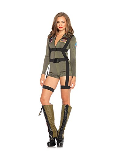 Leg Avenue Women's Top Gun Romper Costume, Khaki,