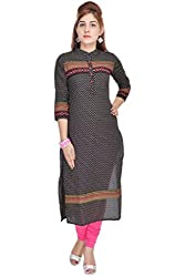 Shop Rajasthan Womens Cotton Paisley 3/4 Sleeve Black Medium Kurti