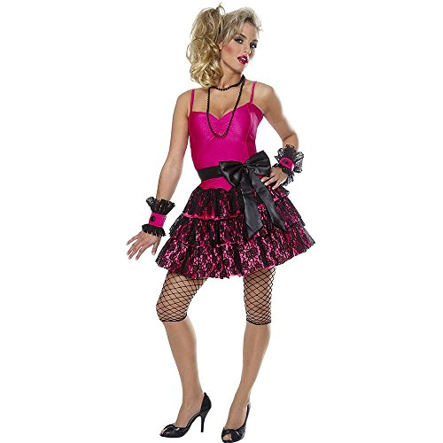 80s Party Girl Adult Costume. Three Sizes Small, Medium or Large