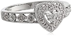 10k White Gold Diamond Heart Ring (0.03 cttw, I-J Color, I2-I3 Clarity), Size 7