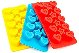 EasyWithRose Premium Silicone Candy Molds & Silicone Ice Trays - Set of 3 Stars & Hearts Molds - Bonus Ebook for Candies Recipes - Making Homemade Chocolate, Jelly, Gummy, Soap - Pink/Yellow/Blue