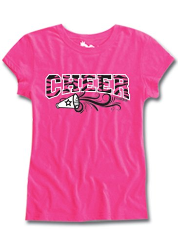 Cheer Short Sleeve Semi Sheer Fitted Tee Hot Pink Youth Large front-202554