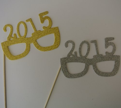 2015 Glasses Photo Booth Props Glasses on a Stick New Years Celebration Gold and Silver