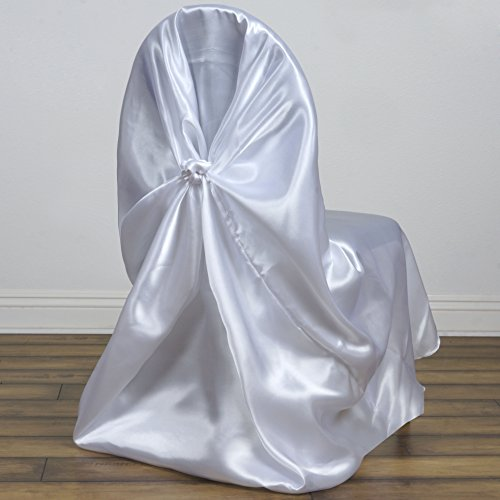 BalsaCircle 10 Universal Satin Pillowcase Wedding CHAIR COVERS - White