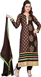 silvermoon fashion women's Georgette Embroderied Unstitched Dress Material -1034_Brown_Freesize