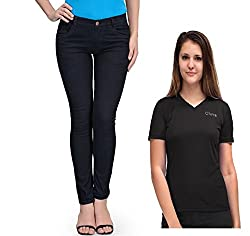 Oleva Women combo set of 2 (denim Blue jeans and Blue T-Shirt ) ONC-09_36
