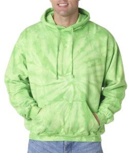 Tie-Dye Sweatshirt ~ Pullover Hoodie Sweatshirt With Pockets ~ Spider Lime Small