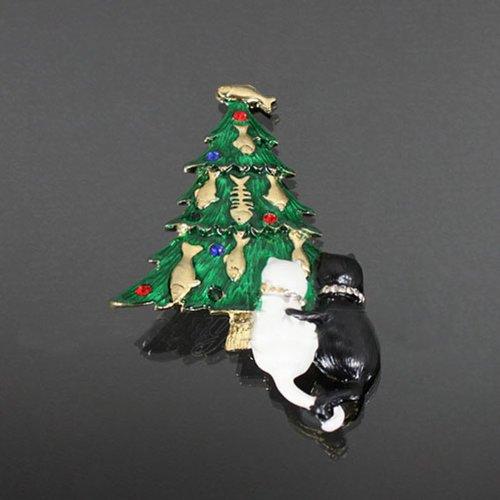 Christmas Tree/cat Couple Brooch Bro52-bc138