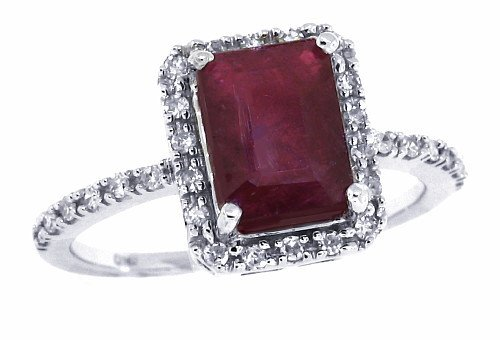 1.58Ct Emerald Cut Genuine Ruby and Diamond Ring in 10Kt White Gold (AB Quality)