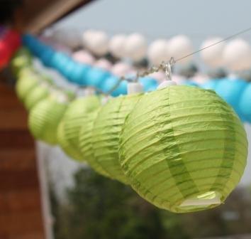 New Solar Powered 20 Led Green Mini Round Paper Chinese Lantern Fairy Light String
