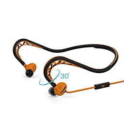 Nkomax Remax Sports L angled 3.5mm In Line Remote Control Neckband Stereo Earphones Outdoor Corded Headsets (Orange)