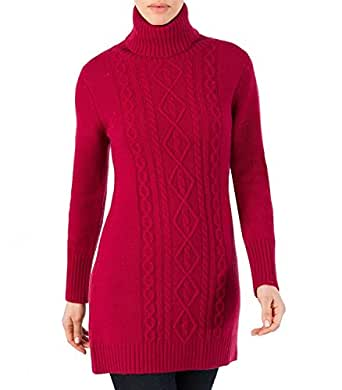 Wool Overs Women's Lambswool Turtleneck Cable Sweater Dress Burgundy Wine Small