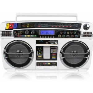 Lasonic i-931BT Portable Bluetooth Stereo Ghetto Blaster BoomBox Speakers with USB / SD and Auxiliary Input - White