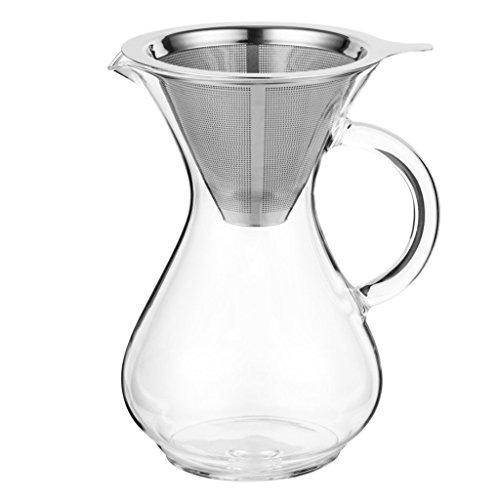 CoastLine Pour Over Coffee Carafe | 4 Cup Capacity | Hand Crafted Glass with Handle | Stainless Steel Reusable Filter | Perfect for Cold Brew Coffee | Hand Drip Coffee Maker
