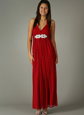 Sheer Rhinestone Link Tie Back Halter Dress for Bridesmaid Formal Prom XXL RED