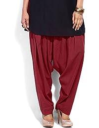Winsomedeal Women's Cotton Semi Patiala Salwar (Slwr-Semi_Patiala-Maroon_Maroon_Free Size)