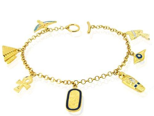 9ct Yellow Gold Diamond Egyptian Style Charm Bracelet