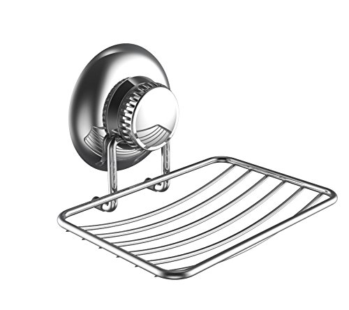 Gecko-Loc Suction Cup Soap Dish - Strong Stainless Steel Sponge Holder for Bathroom & Kitchen