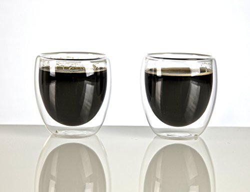 VizCása Double-Wall Insulated 2.5 Ounce (70 ML) Glass Espresso Shot Cups SET OF 2 (Glass Espresso Measuring Cup compare prices)