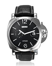 Skmei Formal Date Display Analog Black Dial Mens Watch - 1124CL
