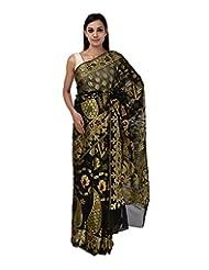 A1 Fashion Women Cotton Black Saree With Blouse Piece - B00VUS10Q4