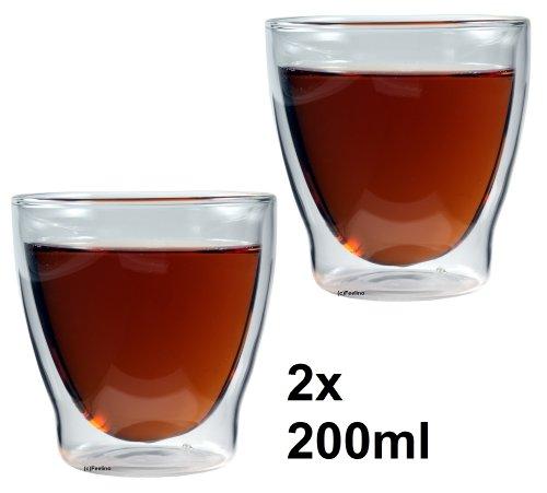 """Feelino 2x 200ml """"Rondorello"""" doppelwandiges Kaffeeglas & Teeglas, edle Thermogläser mit Schwebeeffekt"""