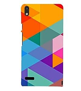 Printvisa Multicoloured Triangular Pattern 3D Hard Polycarbonate Designer Back Case Cover For Huawei Ascend P6 :: Huawei P6 :: Huawei Ascend P6 Dual