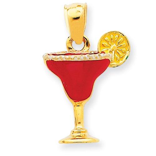 14k Fuchsia Enameled Salted Margarita Drink Pendant