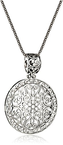 Sterling Silver Bali-Inspired Filigree Pendant Necklace, 18""