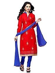 PARISHA Chanderi Cotton Red Women's Straight Suit ARY3010