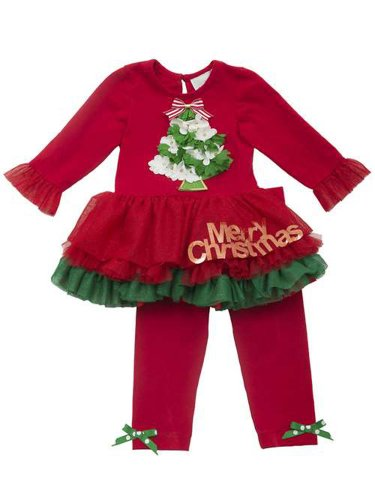 "Rare Editions Little Girls' ""Merry Christmas"" Tutu Legging Set"