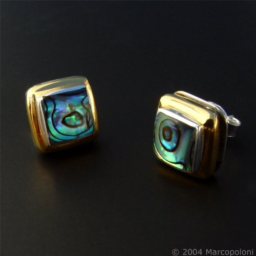 Paua (Abalone) Shell Square Gold-Rim Post Earrings