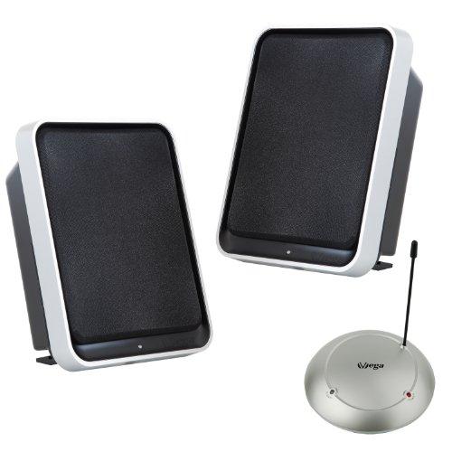 Stereo Funk-Lautsprecher Set mit BASSBOOST (2x3.5W Sinus/100W PMPO/100m Reichweite) für Wohnzimmer & Terrasse