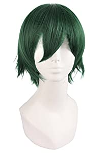 MapofBeauty Men's Short Straight Wig Cosplay Costume Wig (Dark Green)