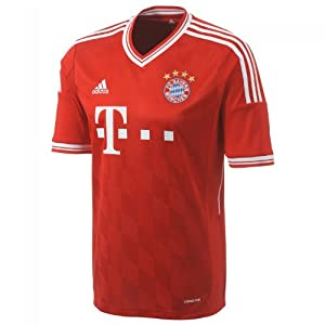 adidas Men's FC Bayern Home Jersey - FCB True Red/White, Small