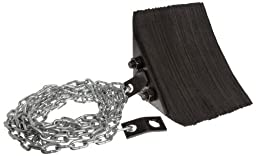 Durable Corporation Black Laminated Wheel Chock with 15\' Attached Chain and Mounting , 8\